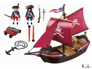 Im Paket Playmobil 5683 ist ein Kanonensegler mit zwei Soldaten und eine Kanone enthalten.