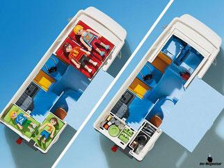 Die Besonderheiten im Playmobil Paket 6671 sind das abnehmbare Dach und dass die Markise herausgezogen werden kann.