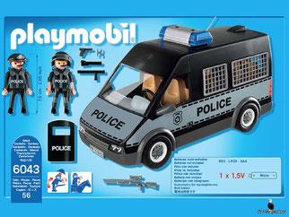 Die Besonderheiten im Playmobil Paket 6043 sind dass der Mannschaftswagen mehrteilige Polizei-Set Effekten, und Licht- und Soundeffekte verfügt. Das Dach ist abnehmbar und im Wagen haben bis zu 7 Personen platz.