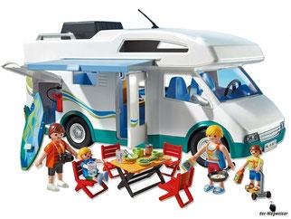 Im Paket Playmobil 6671 ist enthalten ein grosses Wohnmobil mit Familie, Mann, Frau, Junge, Mädchen und viele Zubehörteile.