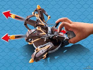Besonderheiten im Playmobil Paket 9249 ist der funktionierende 4-Schuss-Feuer-Balliste, damit kann man jeden Feind abwehren.