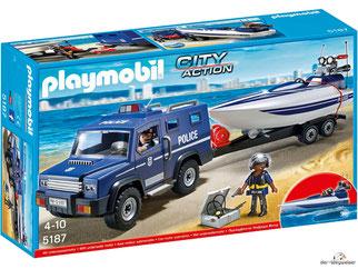 """Bei der Bestellung im Onlineshop der-Wegweiser erhalten Sie das Playmobil Paket 5187 """"Polizei-Truck mit Speedboot inkl. Unterwassermotor""""."""