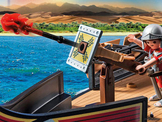 Die Besonderheit im Playmobil Paket 5390 ist ein Auftriebskörper im Schiffsinnern, damit die Galeere nicht sinken kann.