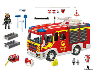 Im Paket Playmobil 5363 ist ein Löschgruppenfahrzeug, ein Feuerwehrmann, ein Feuerwehrhelm, ein Funkgerät, mehrere Schläuche, mehrere Verbindungsstücke, ein Feuerlöscher, ein Wasserverteiler und viel weiteres Feuerwehrzubehör enthalten.
