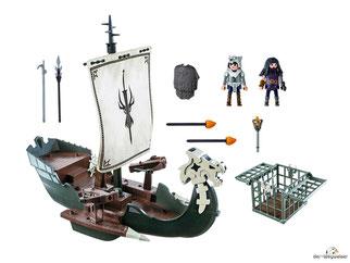 Im Paket Playmobil 9249 sind 45 Einzelteile, ein Drago Blutfaust, ein Drago Gehilfe, ein Drachenschiff, ein Käfig, ein Speer mit Zacken, ein Einreisshaken, zwei Armbrüste, zwei Feuergeschosse, eine Fackel und ein Fellumhang enthalten.