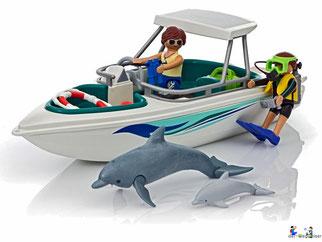 Besonderheiten im Playmobil Paket 6981 ist ein Boot und der schwimmfähiger Delfin.