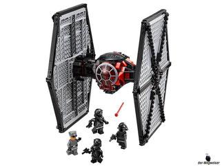 Im Paket Lego 75101 sind 517 Einzelteile, 2 First Order TIE Fighter Pilote, 1 First Order Officer, 1 First Order Crew, 3 Blaster-Pistolen, 2 Helme, 2 federunterstützte Shooter und 1 rotierende Antenne enthalten.