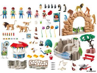 Im Paket Playmobil 6634 ist ein grosser Zoo mit einem Tierpfleger, einer Tierpflegerin, einem Mann, einer Frau, ein Mädchen, ein Junge, ein Baby, viele Tiere und weiteres Zubehör enthalten.