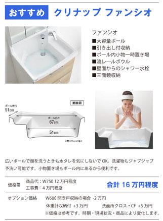 洗面化粧台リフォーム クリナップS