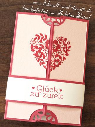 Karte Hochzeitskarte Blühendes Herz, Glück zu zweit, mit Stampin'Up
