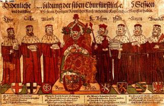 Karl IV som tysk-romersk kejsare, omgiven av kurfursterna