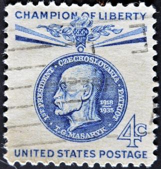 T G Masaryk på amerikansk frimärke