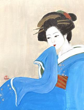 Japanese Nihonga painting Geisha Meiko Japanese girl in blue kimono artwork for your home art for sale