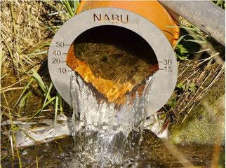 Unsere Wasserausleitung in das alte Bewässerungsgrabensystem (Skala mit Angabe Liter/Sekunde)  (© Ulrich Fischer NABU Neustadt)