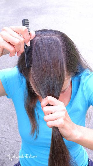 frühlingsfrisur machen, haare mit kamm abteilen