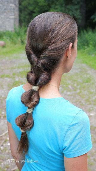 Wellen Zopf halboffen, Wellenfrisur, einfache Frisur für lange Haare