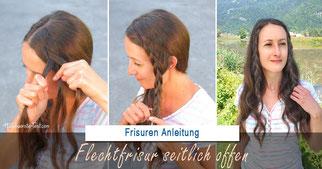 lechtfrisur seitlich offen: kleine Flechtzöpfe mit welligen Haaren sorgen für Sommerfeeling