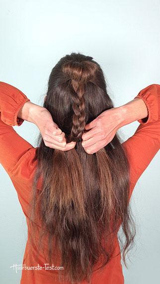 kleiner dutt mit offenen Haaren Anleitung, kleiner dutt anleitung, dutt mit offenen haaren