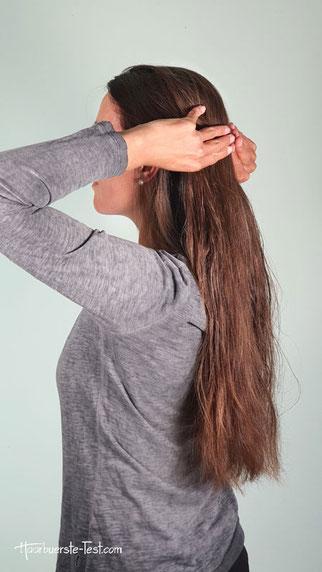 Haarpartien aufteilen