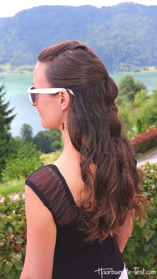 flechtfrisuren halboffene haare, zopf durchgezogen