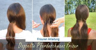 Pferdeschwanz Frisur: Zwei Zöpfe mit Haaren umwickelt