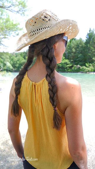 sommerhut frisur, sommerhut lange haare, flechtfrisuren einfach lange haare