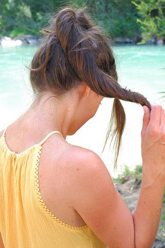 messy dutt lange haare