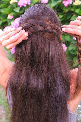 half bun lange haare