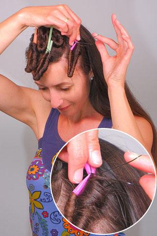 Strohhalm Locken lange Haare