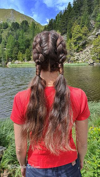 coole flechtfrisur, 2 flechtzöpfe lange haare
