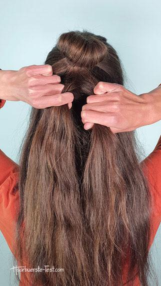 kleiner dutt mit offenen Haaren Anleitung, kleiner dutt anleitung