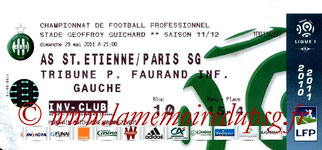 Ticket  Saint Etienne-PSG  2010-11