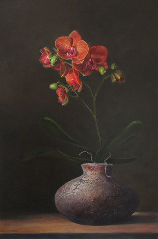 Orchidee met pot - te zien bij Galerie Montulet