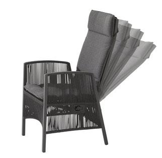 Gartenstuhl Esstisch Verstellbare Rückenlehne Grau