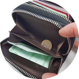großes Kartenetui, Kartenetui mit Geldfach