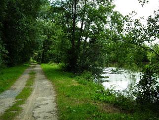 Chemin de halage en Mayenne