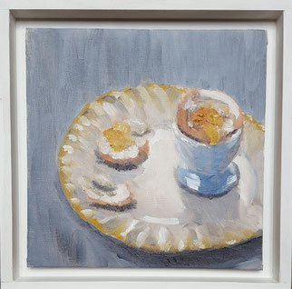 """Breakfast Egg"" BEo  20.5x20.5cm oil on canvas board-Framed"