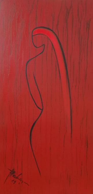 """""""Roter Traum"""" Öl auf Leinwand 80x40x3  cm"""
