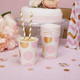 thème pastel rose et or anniversaire 1 an- pink gold party decoration