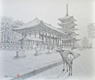 古都遊鹿(興福寺)<鉛筆画 F10>