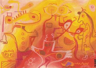 """""""kleine Feuerkobolde"""", Gouche und Pastellkreide auf Papier  24/17 cm  02/98"""