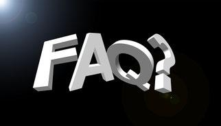 Foto mit den Buchstaben FAQ