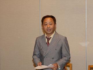 挨拶にたち、Future Kids Japanの基本方針である3つのプロジェクトの重要性を改めて強調。高崎卓哉理事長。