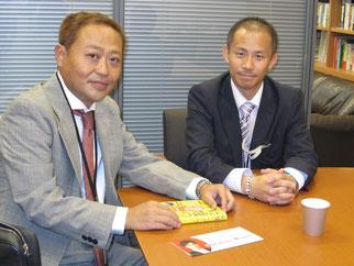 議員との面会にご尽力頂いた今井会員(右)と高崎理事長(左)