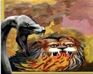 Les chevaux à têtes de lions d'où sortent le feu, la fumée et le soufre, ont des queues qui ressemblent à des serpents, elles se terminent par une tête qui fait du mal. Le pouvoir des chevaux réside dans leurs bouches et leurs queues.