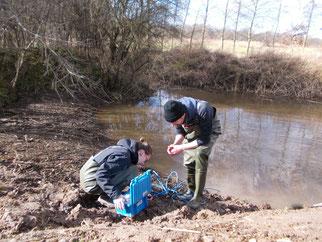 Um die Wassermenge zu bestimmen, die bei verschiedenen Einstellungen durch das Rohr fließt, wird ein Messgerät eingesetzt, das mit Ultraschall- und Drucksensoren ausgerüstet ist.