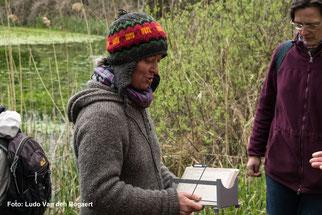 Anhand historischer Registerlochkarten erklärte Birgit Peil, wie im Zeitalter vor Computerdatenbanken Informationen über die  Amphibienfauna erfass- und abrufbar waren.