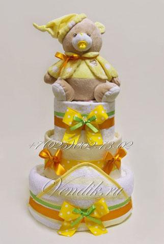 """Торт из памперсов универсальный  """"Медвежонок Соня с пустышкой """""""