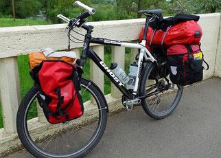 bepacktes Reiserad, Frontroller, Backroller, wasserdichte Radtaschen, Flaschenhalter, Packsäcke