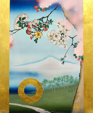 """Sakura- Tribute to Hiroshige Utagawa""   45.5×38. cm  Oil Painting, Gold foil.  Framed."